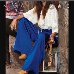 Leifsdottir royal blue wide leg hemmed pants